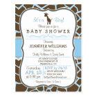 Blue Giraffe Print Boy Baby Shower Invitation Postcard