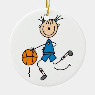 Blue Girl Basketball Player T shirts and Gifts Ceramic Ornament