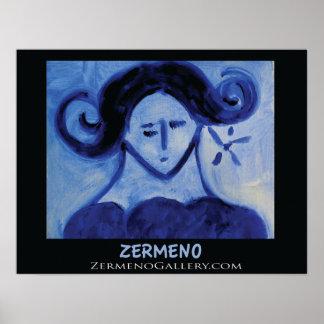 Blue Girl by Zermeno Poster