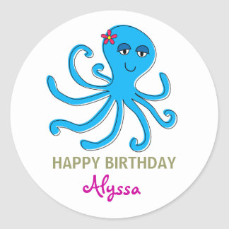 Blue Girl Octopus, Under the Sea Cupcake Toppers Round Sticker