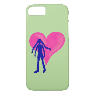 Blue girl with long braids and big heart iPhone 8/7 case