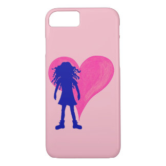 Blue girl with long curly hair and big heart iPhone 8/7 case