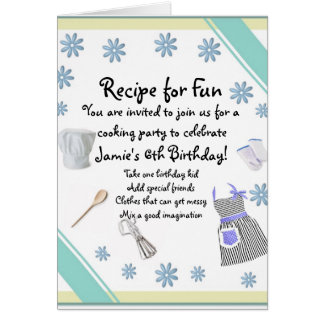 Blue Girls Cooking Party Invitation