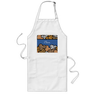 Blue Girly animal print hearts with a name Long Apron