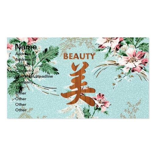 Blue Girly Floral print Beauty kanji Business Cards