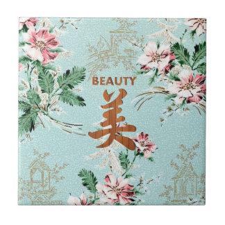Blue Girly Floral print Beauty kanji Tile