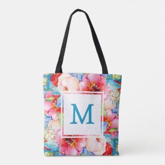 Blue Girly Trendy Roses Floral Watercolor Tote Bag