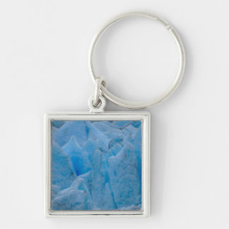 Blue Glacier Silver-Colored Square Keychain