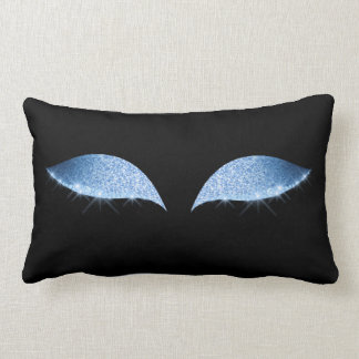 Blue Glam Cat's Eye Sleep Glitter Makeup Black Lumbar Pillow