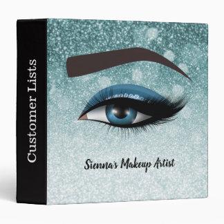 Blue glam lashes eyes | makeup artist 3 ring binder