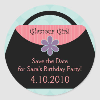 Blue Glamour Party Sticker