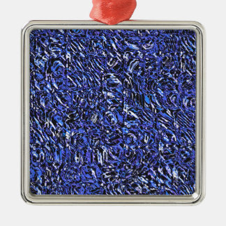 Blue Glass Abstract Metal Ornament