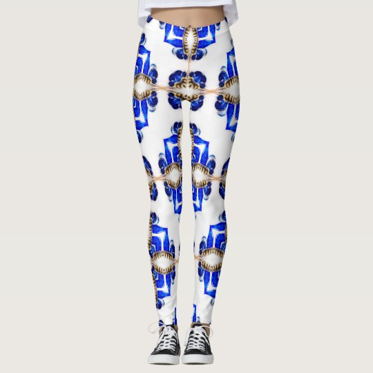 Blue Glass and Feather Geometric Leggings