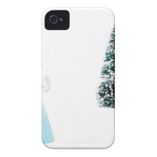 Blue glass angel praying near christmas tree iPhone 4 covers