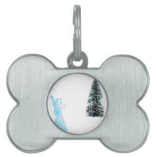 Blue glass angel praying near christmas tree pet name tag