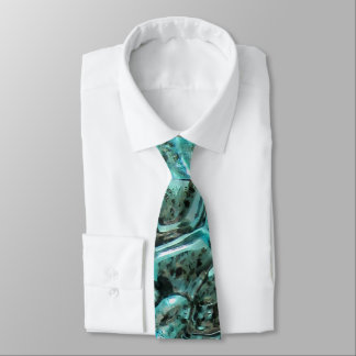 Blue Glass Crocodile Skin Aqua Teal Art Jewel Tie