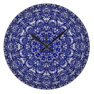 Blue Glass Lace Large Clock