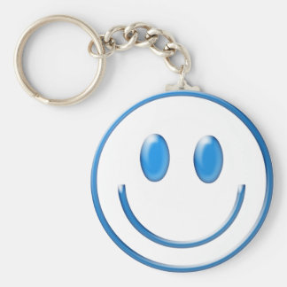 Blue Glass Smiley Face Keychain