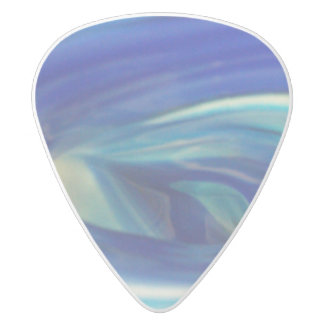 Blue Glass Swirl White Delrin Guitar Pick
