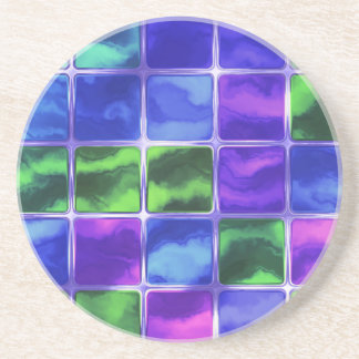 Blue glass tiles coaster