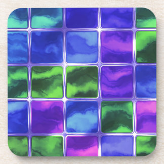 Blue glass tiles drink coaster