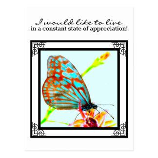 Blue Glassy Tiger Butterfly - live in appreciation Postcard