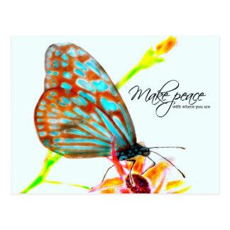 Blue Glassy Tiger Butterfly - Make Peace Postcard