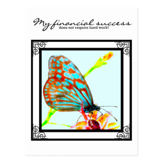 Blue Glassy Tiger Butterfly - My Financial success Postcard