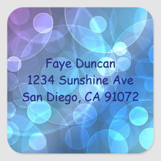 blue glitter address square sticker