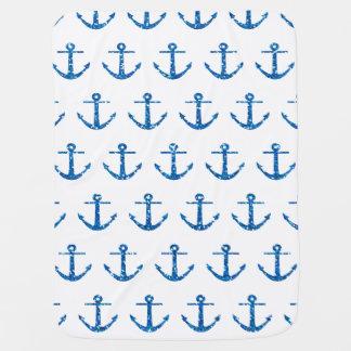 Blue Glitter Anchor Pattern Baby Blanket