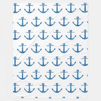 Blue Glitter Anchor Pattern Blanket