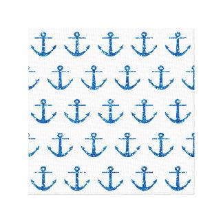 Blue Glitter Anchor Pattern Canvas Print