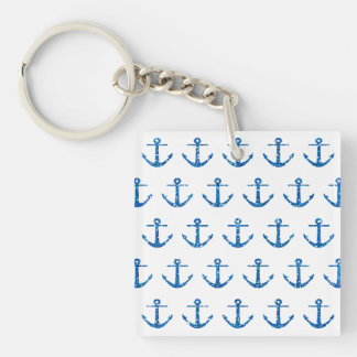 Blue Glitter Anchor Pattern Keychain