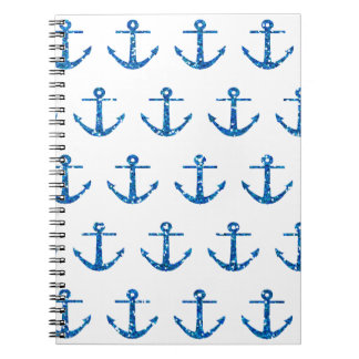 Blue Glitter Anchor Pattern Notebook
