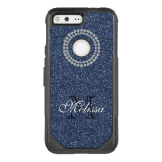 Blue Glitter and Diamonds, Your Name and Initial OtterBox Commuter Google Pixel Case