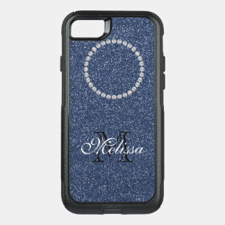 Blue Glitter and Diamonds, Your Name and Initial OtterBox Commuter iPhone 8/7 Case