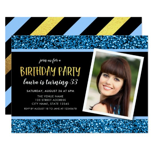 Blue Glitter Any Age Photo Birthday Invitation