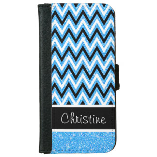 Blue Glitter & Black Chevron iPhone 6 Wallet Case
