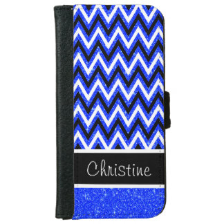 Blue Glitter & Black Chevron iPhone 6 Wallet Case