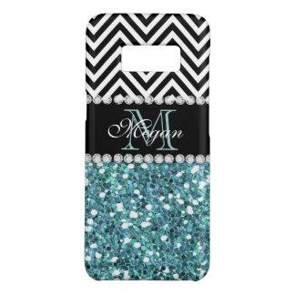 Blue Glitter Black Chevron Pattern Monogram Case-Mate Samsung Galaxy S8 Case