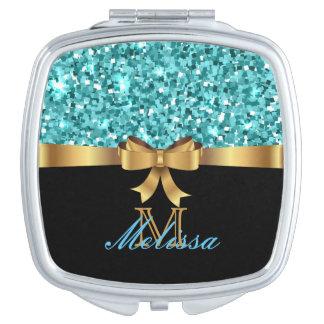 Blue  GLITTER  BLACK teal GOLDEN BOW MONOGRAM Travel Mirror