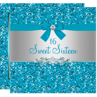 Blue Glitter Bow Sweet Sixteen Invite
