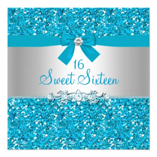 Blue Glitter & Bow Sweet Sixteen Invite