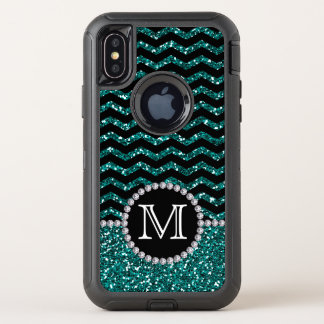 Blue Glitter Chevron Monogrammed Defender Case