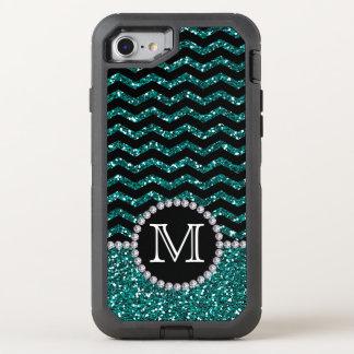 Blue Glitter Chevron Monogrammed Defender OtterBox Defender iPhone 7 Case