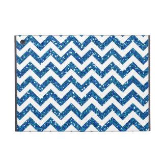 Blue Glitter Chevron Pattern iPad Mini Cover