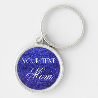 Blue Glitter Custom Text Mom Keychain