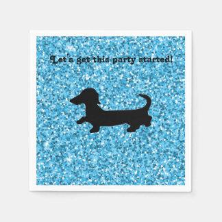 Blue Glitter Dachshund Paper Napkins
