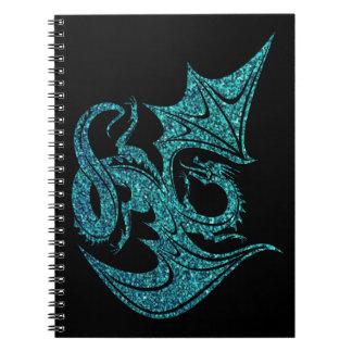 Blue Glitter Dragon Spiral Notebook