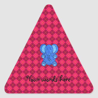 Blue glitter elephant pink argyle pattern triangle sticker